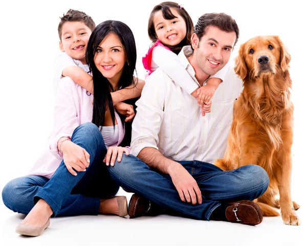 Happy Family with Dog Photo