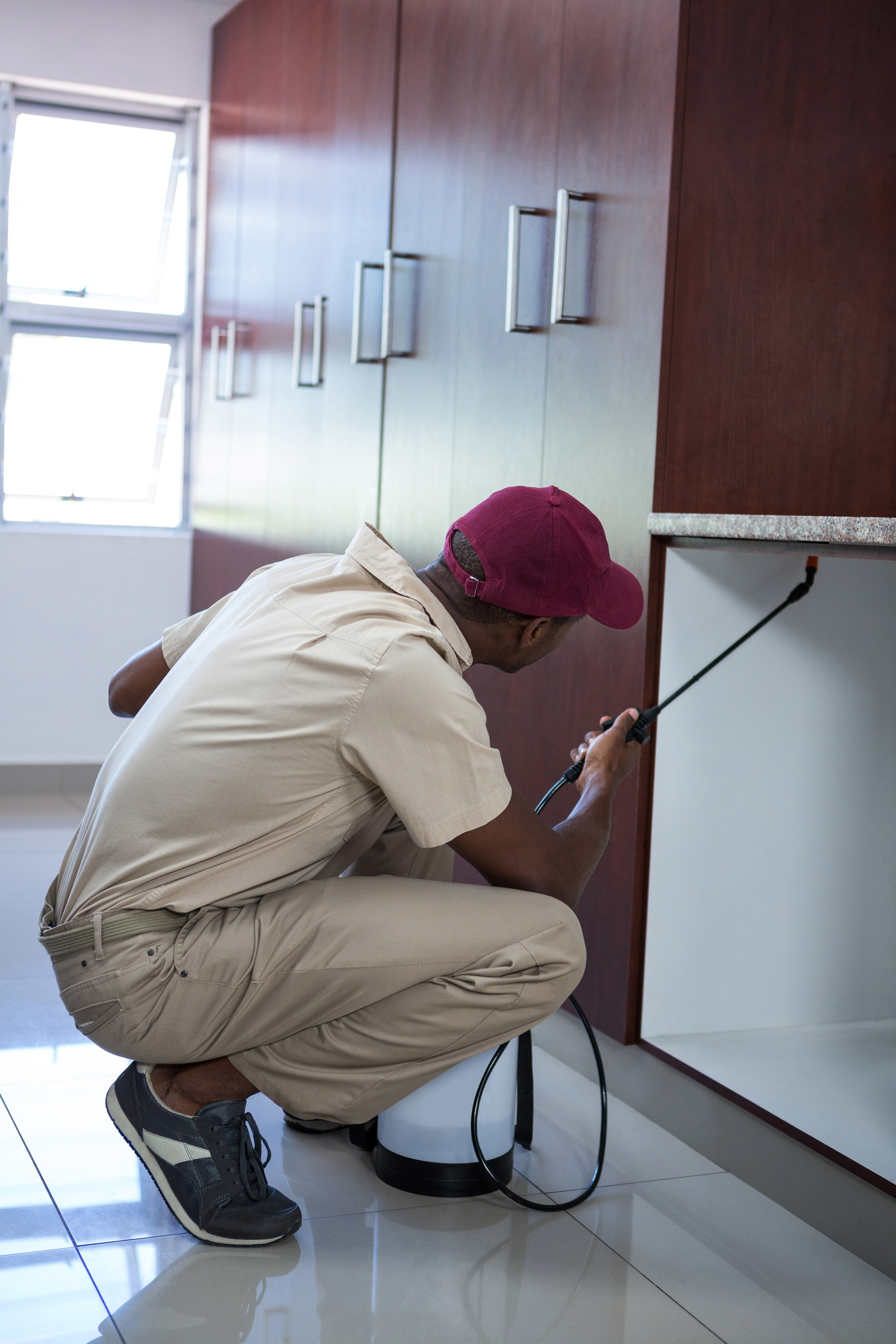 Pest control man spraying pesticide in kitchen because knowing how to prevent bed bugs from coming back means getting rid of them first.